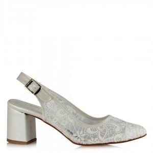 Nikah Ayakkabısı Stiletto Arkası Açık Dantel Desenli