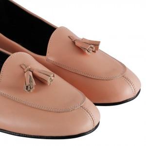 Babet Ayakkabı Hakiki Deri Pudra Rengi