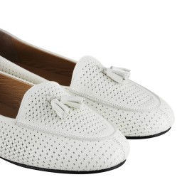 Babet Ayakkabı Beyaz Hakiki Deri Loafer