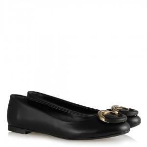 Babet Ayakkabı Siyah Mat Yuvarlak Tokalı