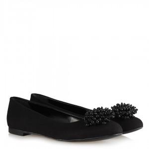 Babet Ayakkabı Siyah Süet Boncuk Tokalı