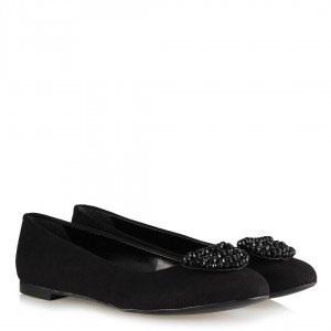 Babet Ayakkabı Siyah Tokalı Kristal Taşlı