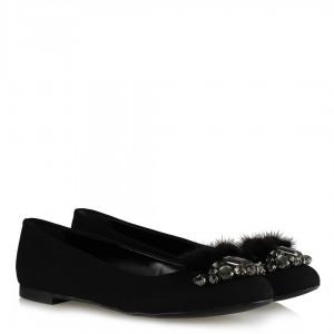 Babet Ayakkabı Siyah Taşlı Tüylü Tokalı