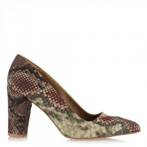 Stiletto Ayakkabı Vizon Kahve Yılan Desen