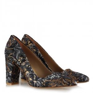 Stiletto Ayakkabı Osmanlı Desen Renkli Kumaş
