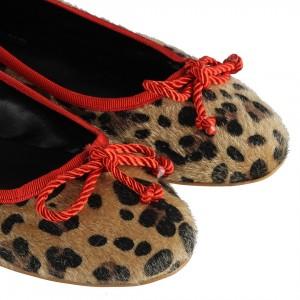 Babet Ayakkabı Leopar Desenli Kırmızı Biyeli