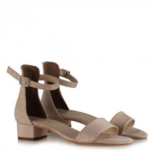 Az Topuklu Ten Süet Sandalet Ayakkabı Modeli