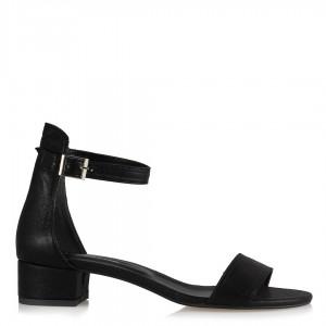 Siyah Yaldızlı Bantlı Az Topuklu Sandalet