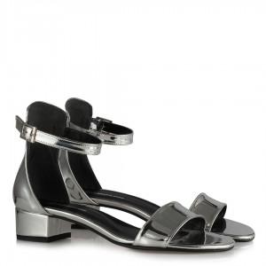 Lame Ayna Az Topuklu Sandalet Ayakkabı Modeli