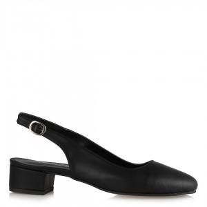 Alçak Topuklu Siyah Arkası Açık Ayakkabı