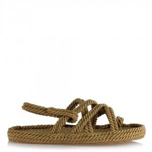 Örgü Model Halat Sandalet Camel