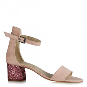 Ayakkabı Az Topuklu Pudra Cam Kırığı Topuklu