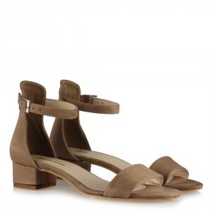 Az Topuklu Vizon Süet Sandalet Ayakkabı Modeli