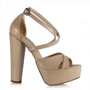 Platform Ayakkabı Çapraz Ten Rugan Modeli