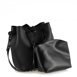 Çanta El ve Omuz Askılı Siyah Zımbalı