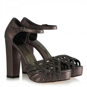 Füme Taşlı Abiye Ayakkabı Modeli