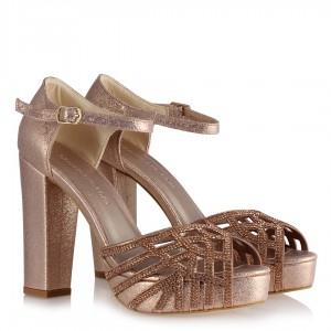 Abiye Ayakkabı Rose Taşlı Platform