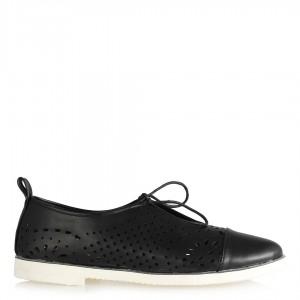 Bayan Ayakkabı Siyah Delikli Bağcıklı