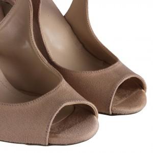 Ten Süet Topuklu Ayakkabı Çapraz Kemerli