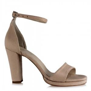 Topuklu Ayakkabı Tek Bantlı Ten Süet