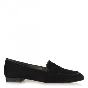 Loafer Bayan Ayakkabı Siyah Süet
