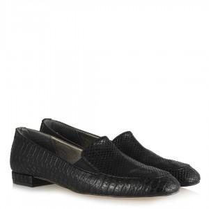 Loafer Ayakkabı Siyah Yılan Desenli