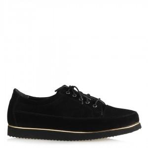 Düz Ayakkabı Siyah Bağcıklı Hakiki Deri Süet