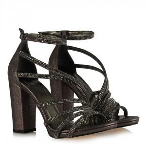 Bayan Abiye Ayakkabı Füme Taşlı Yaldız