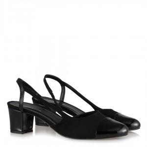 Topuklu Ayakkabı Siyah Süet Rugan