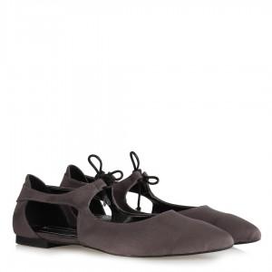 Babet Ayakkabı Gri Süet Bağcıklı