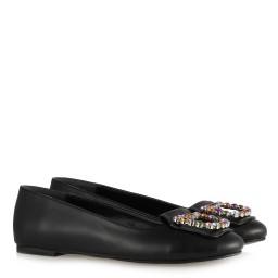 Babet Ayakkabı Taşlı Siyah Tokalı