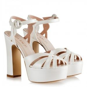 Gelin Ayakkabıları Kalın Topuklu Çapraz Platform