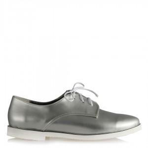 Bağcıklı Düz Ayakkabı Gri Metalik