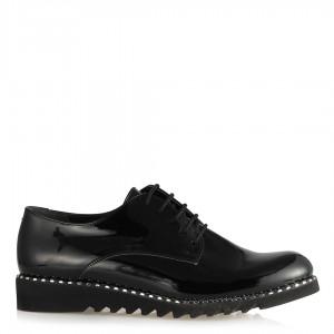 Bağcıklı Düz Ayakkabı  Siyah Rugan