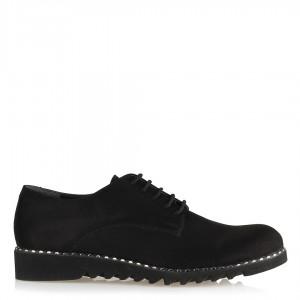 Düz Ayakkabı Siyah Süet Bağcıklı