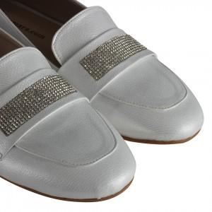 Babet Ayakkabı Lame Rengi Yaldızlı Taşlı
