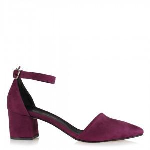 Az Topuklu Stiletto Ayakkabı Mor Süet