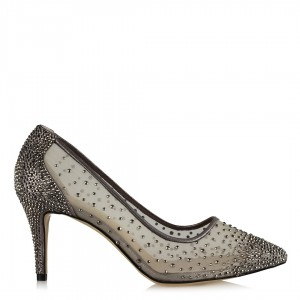 Prenses Taşlı Tül Abiye Ayakkabı Füme
