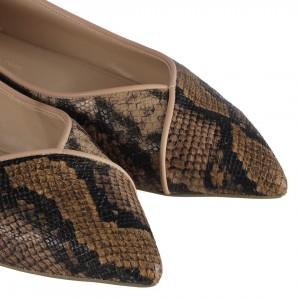 Babet Ayakkabı Kahverengi Yılan Desenli