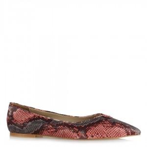 Babet Ayakkabı Sivri Pembe Gri Yılan Desenli