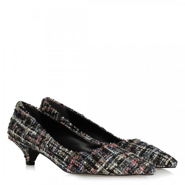 Stiletto Alçak Topuklu Ayakkabı Tweet Kumaş
