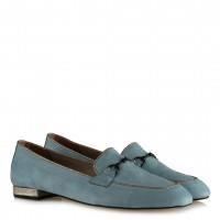 Loafer Düz Ayakkabı Zincirli Bebe Mavi Süet