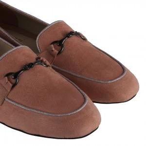 Loafer Zincirli Ayakkabı Pudra Pembe Süet