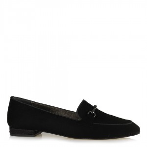 Loafer Ayakkabı Siyah Süet Zincirli