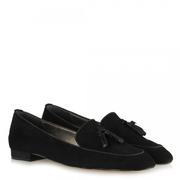 Loafer Ayakkabı Siyah Süet Püsküllü