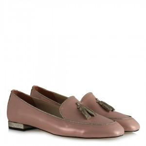 Pudra Yaldızlı Loafer Ayakkabı Püsküllü