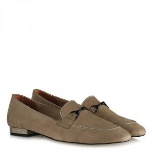 Loafer Ayakkabı Ten Süet Zincirli