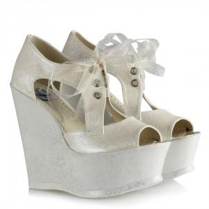 Gelin Ayakkabısı Kırık Beyaz Yaldızlı Yüksek Topuk