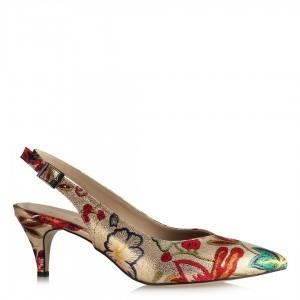 Arkası Açık Ayakkabı Stiletto Dore Çiçekli