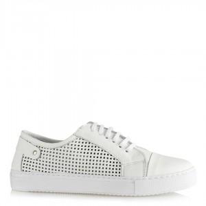 Beyaz Hakiki Deri Spor Düz Ayakkabı